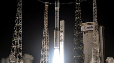 The 450-kilogram PeruSat-1 will share a Vega rocket (above) launch with four 110-kilogram satellites for Skybox Imaging. Credit: Arianespace