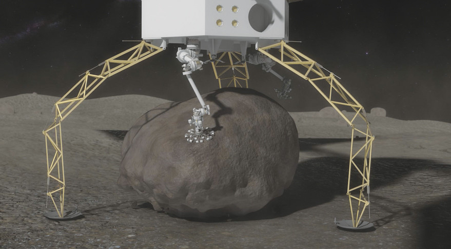 Asteroid Capture Microspine grippers on the end of the robotics arms are used to grasp and secure the boulder. The microspines use thousands of small spines to dig into the boulder and create a strong grip. An integrated drill will be used to provide final anchoring of the boulder to the capture mechanism. Credit: NASA artist's concept