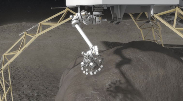 Microspine grippers on the end of the robotics arms are used to grasp and secure the boulder. The microspines use thousands of small spines to dig into the boulder and create a strong grip. An integrated drill will be used to provide final anchoring of the boulder to the capture mechanism. Credit: NASA artist's concept