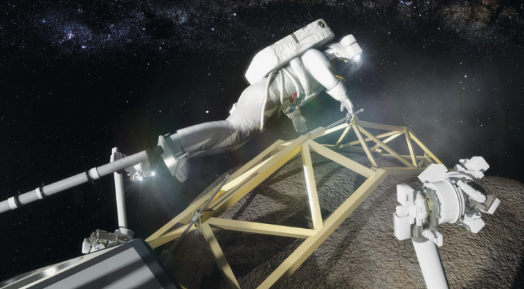 An astronaut, anchored to a foot restraint, prepares to investigate the asteroid boulder. Credit: NASA artist's concept Credit: NASA artist's  concept