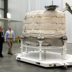 William Gerstenmaier, NASA's associate administrator for human exploration and operations, and Jason Crusan, director of the agency's advanced exploration systems division, view the Bigelow Expandable Activity Module at Bigelow's facility in Las Vegas on March 12. Image Credit: NASA/ Stephanie Schierholz