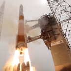 A United Launch Delta 4 rocket lofts the GPS-2F9 satellite from Cape Canaveral, Florida, on March 25, 2015. Credit: ULA video grab