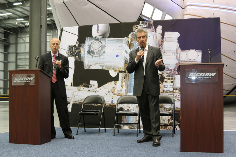 Robert Bigelow, president and founder of Bigelow Aerospace, and William Gerstenmaier, NASA's associate administrator for Human Exploration and Operations, talk to media about the company's Bigelow Expandable Activity Module (BEAM) during an event at Bigelow's facility in Las Vegas on March 12. Credit: Bigelow Aerospace