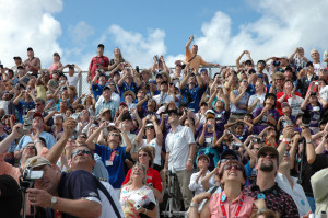Students, teachers, parents and spectators watch as Space Shuttle Discovery launches in October 2007. Photo credit: NASA/KSC