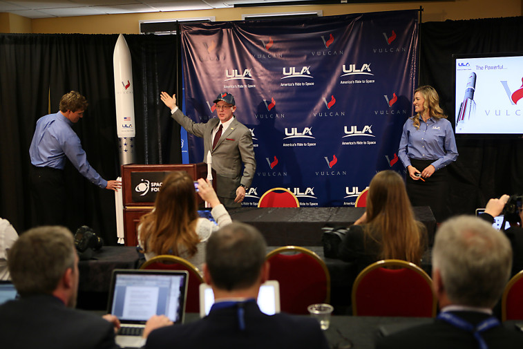 ULA President and CEO unveils Vulcan, the company's proposed new rocket, during an April 13 press conference at the 31st Space Symposium. Credit: Space Foundation