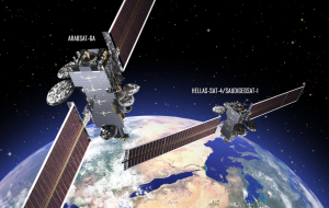 An artist's concept of Arabsat 6-A and Hellas-Sat-4/SaudiGeoSat-1. Credit: Lockheed Martin