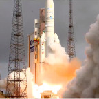 An Ariane 5 carrying the Sicral 2 and Thor 7 satellites lifts off April 26 from Kourou. Credit: Arianespace