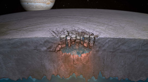 "An artist's concept of Europa's ""Great Lake."" Credit: Britney Schmidt/Dead Pixel VFX/University of Texas at Austin."