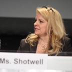 SpaceX president and chief operating officer Gwynne Shotwell speaks on a launch panel at the 31st Space Symposium. Credit: Tom Kimmell