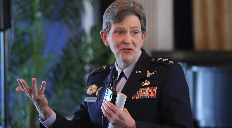 U.S. Air Force Lt. Gen. Ellen Pawlikowski, military deputy to the assistant secretary of the Air Force for acquisition, speaking at a 31st Space Symposium breakfast. Credit: Tom Kimmell