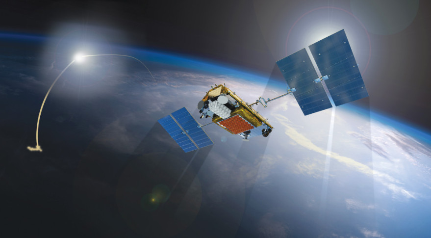 A SpaceNews artist's concept depicting an Iridium Next mobile communications satellite observing a missile defense intercept.