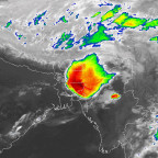 Meteosat-7 imagery of a storm hitting northern Bangladesh in April 2014. Credit: Eumetsat