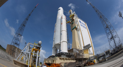 A 2011 file photo of an Ariane 5 rocket rolling out to the launch pad. Credit: Arianespace
