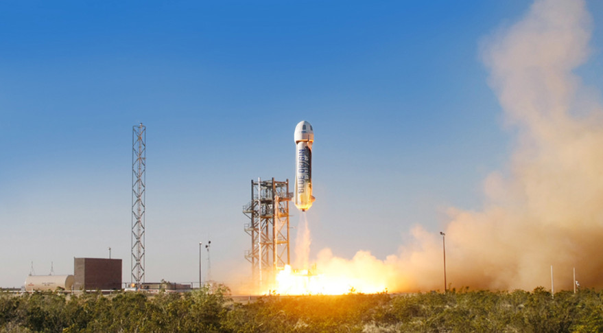 The New Shepard space vehicle blasts off on its first developmental test flight over Blue Origin's West Texas Launch Site April 29. The crew capsule reached apogee at 93,600 meters before beginning its descent back to Earth. Credit: Blue Origin photo