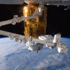 The International Space Station's robotic Canadarm2 shown moving the HTV-3 Exposed Pallet for installation on JAXA's HTV cargo vehicle. Credit: NASA