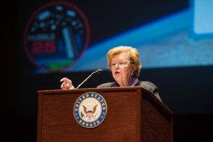 U.S. Senator Barbara A. Mikulski (D-Md.) speaks at an event to commemorate the 25th anniversary of the Hubble Space Telescope,  April 21, 2015 at the Capitol Hill Visitor Center. Credit: NASA/Aubrey Gemignani