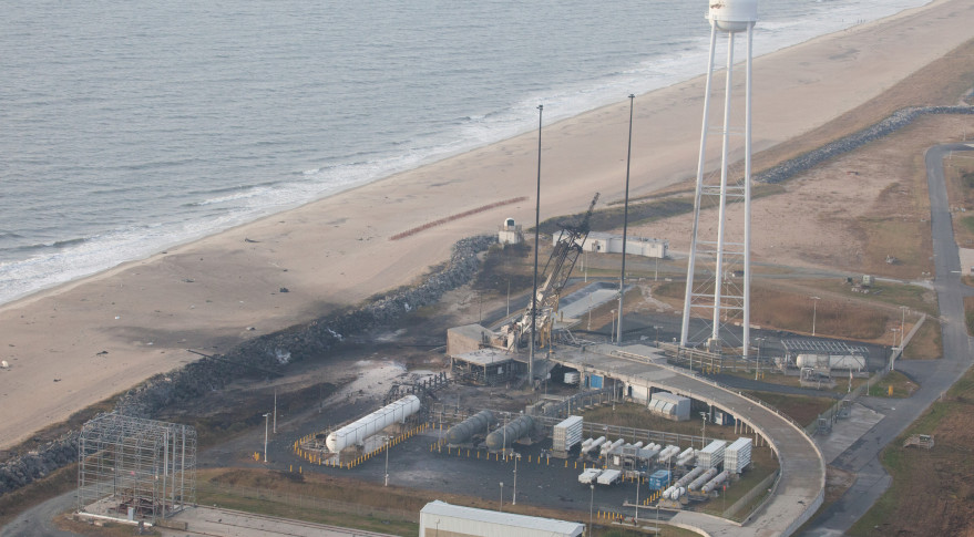 An aerial view Pad 0A taken by the Wallops Incident Response Team Wednesday, Oct. 29, 2014 -- the day after the failed launch attempt of Orbital ATK's Antares rocket from Wallops Island, Virginia. Photo Credit: NASA/Terry Zaperach