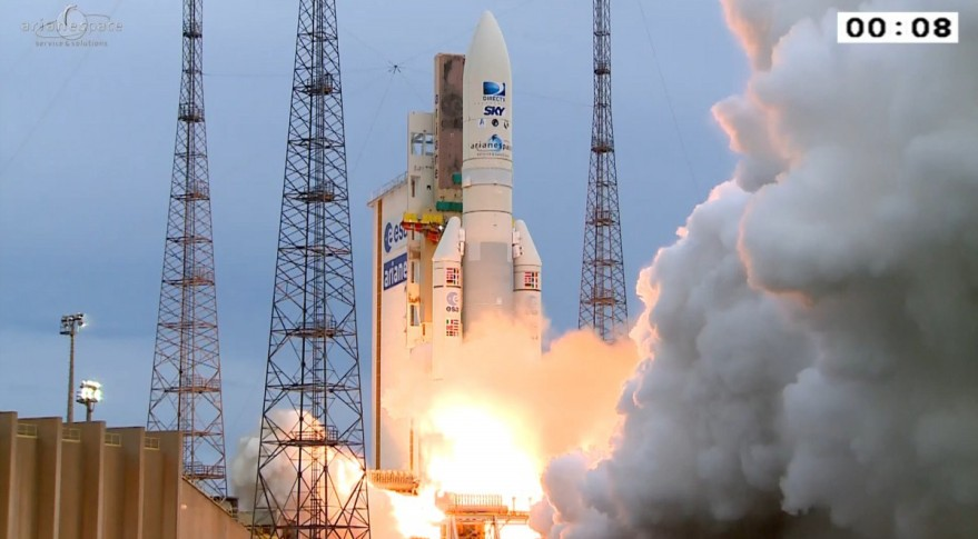 Operating from Europe's Guiana Space Center, the Ariane 5 first separated the  DirecTV-15 satellite followed by the SkyM-1 spacecraft, which was in the vehicle's lower berth. Credit: Arianespace video