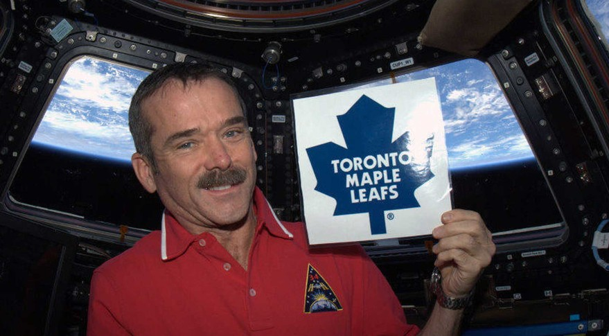 Astronaut Chris Hadfield — Canada's biggest contribution to the  International Space Station since the Canadarm —shows his colors. Credit: NASA