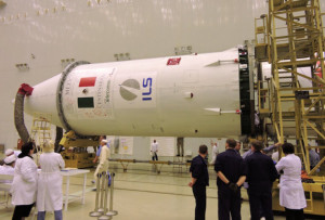 Mexico's Centenario satellite undergoes pre-launch preparations for its ill-fated launch aboard an ILS Proton.