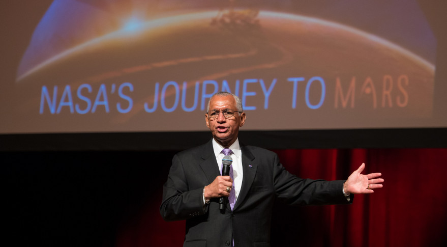 NASA Administrator Charles Bolden speaking at the Human To Mars Summit 2015 in Washington. Credit: NASA/Aubrey Gemignan