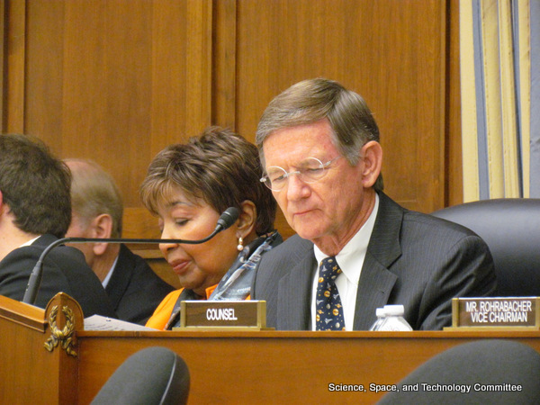 House Science Committee Chairman Lamar Smith (R-Texas) presiding over a 2013 markup of a  NASA authorization bill. Credit: House Science Committee