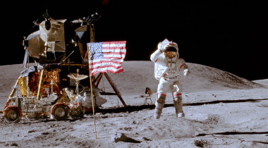 Astronaut John Young salutes the U.S. flag on the moon. Credit: NASA/Charlie Duke