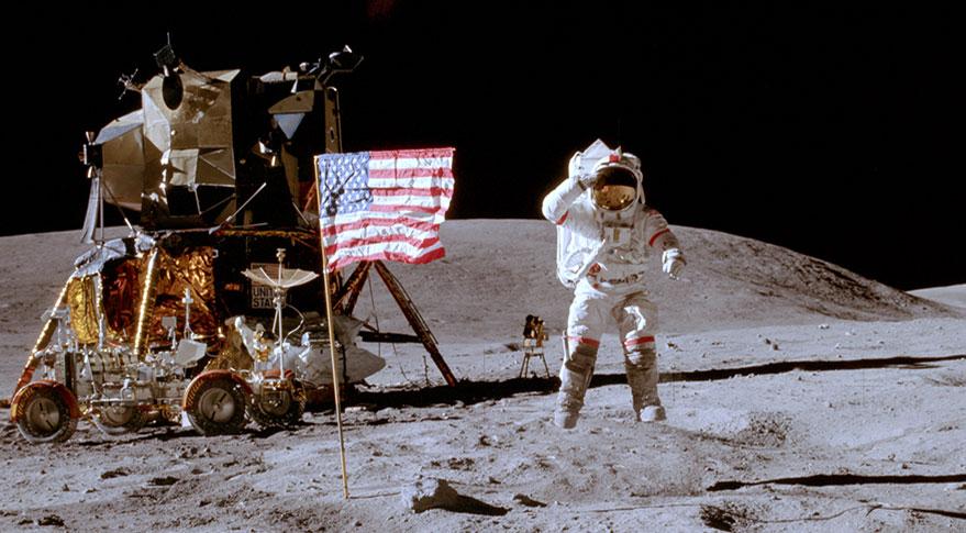 Astronaut John Young salutes the U.S. flag on the moon. Credit: NASA/Charlie Duke