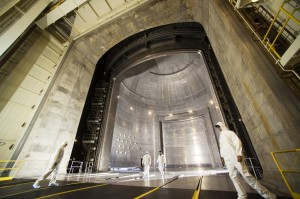 The Space Power Facility at NASA Glenn Research Center's Plum Brook Station in Sandusky, Ohio, houses the world's largest vacuum chamber. It measures 30 meters in diameter and is a towering 37 meters tall. Credit: Michelle Murphy