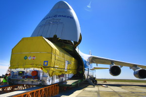 Inmarsat's third Global Xpress satellite — Inmarsat-5 F3 — arrived May 1 at arrived at the Baikonur Cosmodrome in Kazakhstan in anticipation of its now-delayed launch aboard an ILS Proton rocket. Credit: Inmarsat