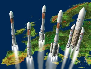 Five generations of Ariane  rockets, from the Ariane 1 to the Ariane 5.  Credit: Arianespace