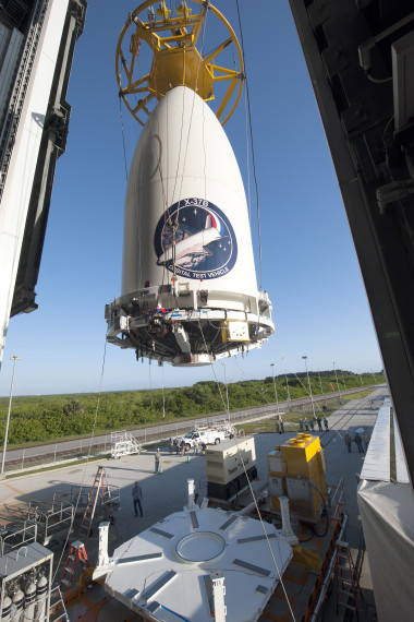 The Air Force's AFSPC-5 payload, encapsulated inside a 5-meter diameter payload fairing, is mated to an Atlas V booster inside the Vertical Integration Facility or VIF at Cape Canaveral Air Force Station's Space Launch Complex-41. Credit: United Launch Alliance.