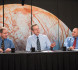 Jim Green, NASA's P Planetary Science Division director (center) NASA, speaks on a panel about the instruments selected to investigate Jupiter's moon, Europa. Credit: NASA/Aubrey Gemignani