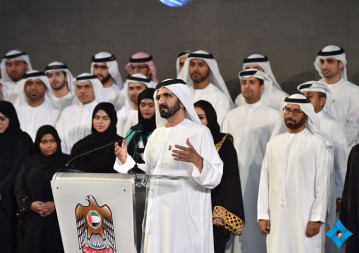 Sheikh Mohammed bin Rashid Al Maktoum  addressing  attendees during a May 6 press conference unveiling new details of its planned Mars mission.