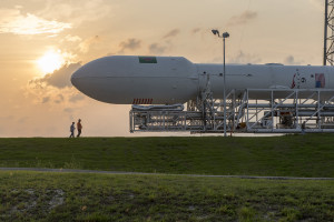 A SpaceX Falcon 9 rocket moving to the pad in advance of its April 27 launch of Thales Alenia Space's TurkmenÄlem52E/MonacoSat satellite. Credit: SpaceX