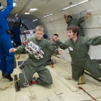 NASA-funded researchers testing technology onboard a zero-gravity flight in 2013. Credit: NASA/Lauren Harnett