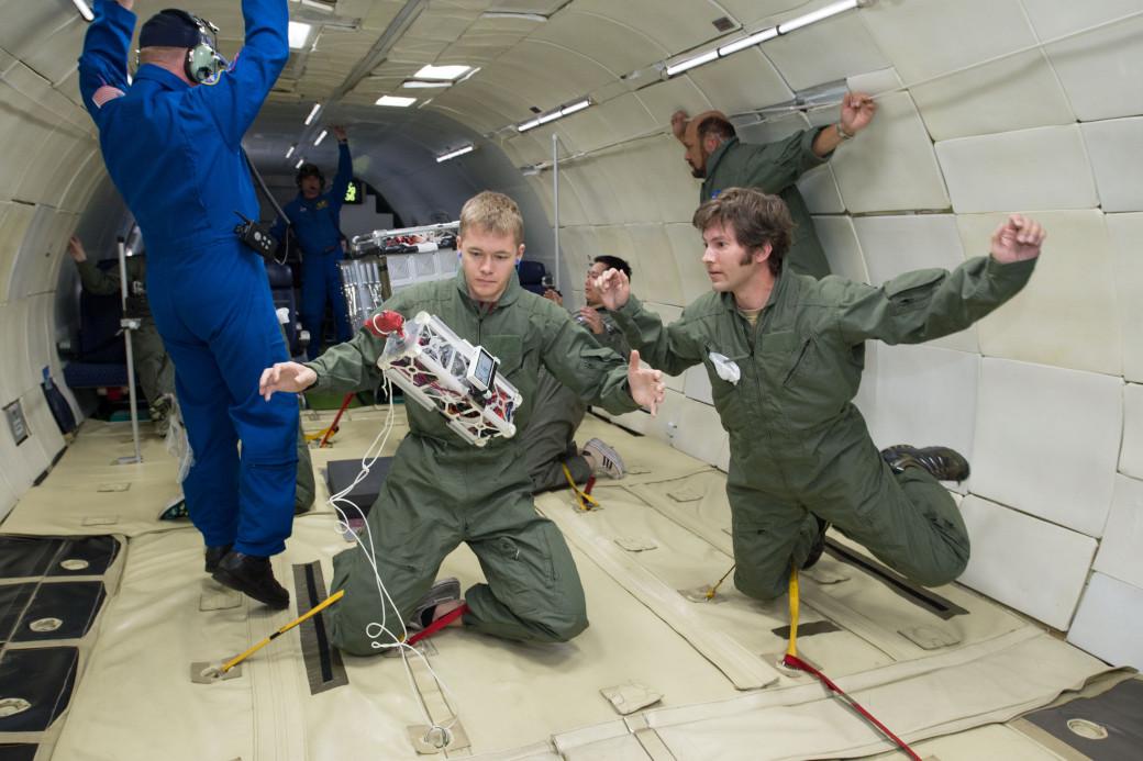 NASA-funded researchers testing technology onboard a zero-gravity flight in 2013. Credit: NASA/Lauren Harnett