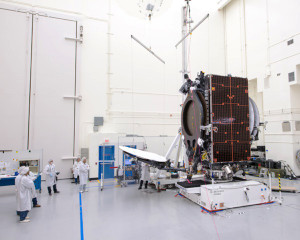 """The reflector is deployed during testing of a Boeing all-electric propulsion 702SP (small platform) satellite, ABS 3A, built for Bermuda-based ABS."" Credit: Boeing"