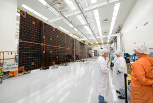 """The solar array is deployed during testing of a Boeing all-electric propulsion 702SP (small platform) satellite, EUTELSAT 115 West B, built for Paris-based Eutelsat."" Credit: Boeing"