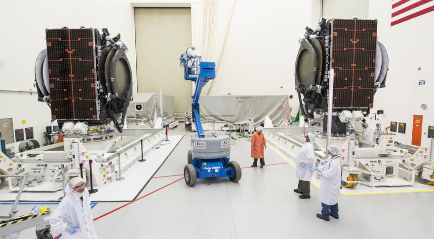 A pair of all-electric Boeing 702SP satellite platforms in El Segundo, California. Credit: Boeing