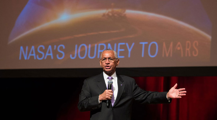 NASA Administrator Charles Bolden discusses NASA's Journey to Mars. Credit: NASA/Aubrey Gemignani