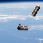 Two cubesats after launch from the International Space Station's Small Satellite Orbital Deployer. Credit: NASA