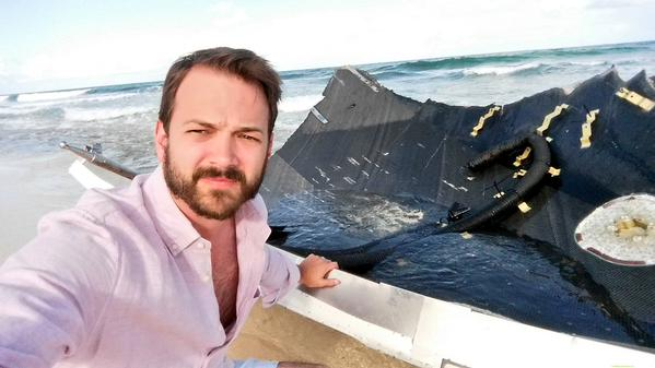 Kevin Eichelberger found a beached Falcon 9 in the Bahamas. Lucky guy! Credit: Kevin Eichelberger
