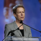 Betty Sapp, director of the National Reconnaissance Office, hinted in a speech at the Geoint 2015 conference that one organization in the broader national security community isn't moving fast enough to protect satellites. Credit: USGIF