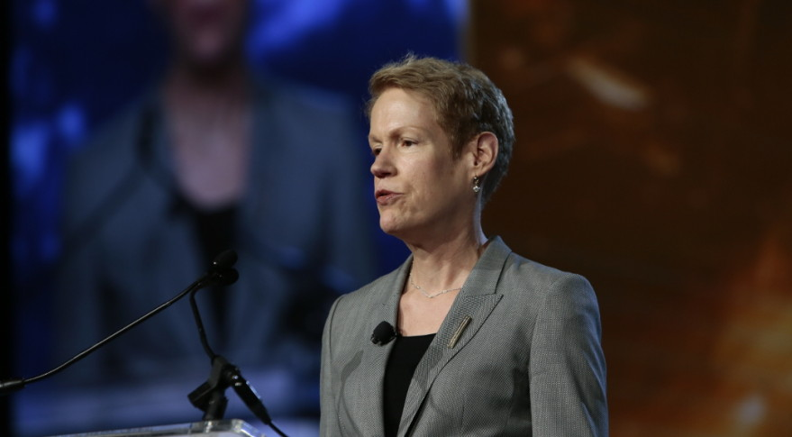 Betty J. Sapp (above), the director of the National Reconnaissance Officer, said  a new space battle management operations center will allow the intelligence community to experiment with new operations in space. Credit: USGIF