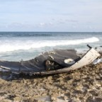 A fairing from one of SpaceX's commercial launches washed-up on the Bahamian island of Elbow Cay in late May. Credit: Sherri Waddell