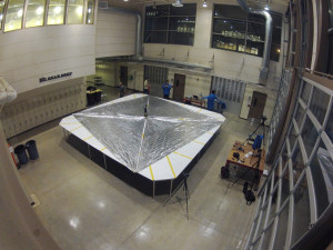 Engineers at Cal Poly San Louis Obispo test the LightSail's solar sail deployment. Credit: The Planetary Society