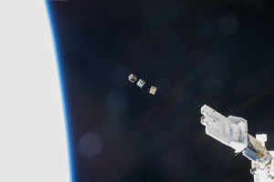 Three cubesats after launch from the International Space Station. Credit: NASA