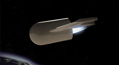 Airbus says Adeline — short for Advanced Expendable Launcher with Innovative engine Economy — imposes a  smaller performance penalty on its rocket than is the case for SpaceX's reusable Falcon 9 first stage, all the while reusing 80 percent of the stage's economic value — the engine, avionics and propulsion bay. Credit: Airbus video grab