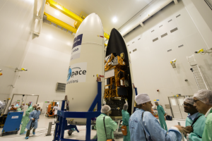 Sentinel-2A being encapsulated in Vega fairing. Credit: ESA